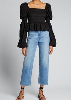 Caroline Constas Wren Puff-Sleeve Embroidered Top
