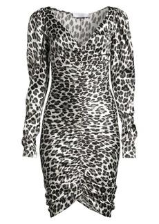 Caroline Constas Colette Animal-Print Stretch Silk Dress