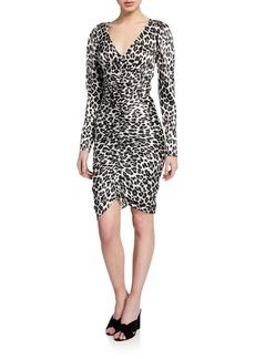Caroline Constas Colette Ruched Leopard-Print Cocktail Dress