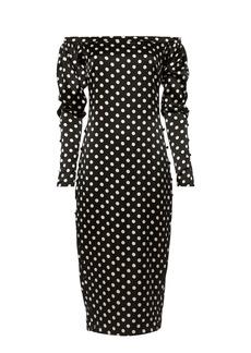 Caroline Constas Dania Off Shoulder Polka Dot Dress