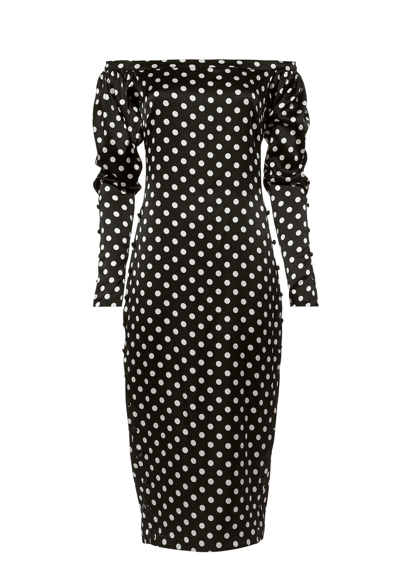 Caroline Constas Dania Off Shoulder Polka Dot Dress
