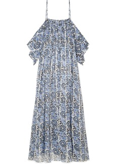 Caroline Constas Delphi Cold-shoulder Printed Silk-chiffon Maxi Dress