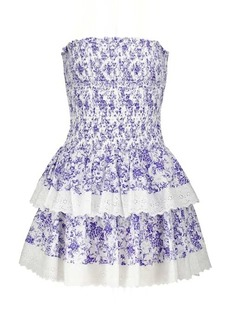 Caroline Constas Ensley floral smocked minidress