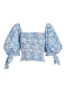 Caroline Constas Finley Paisley Puff Sleeve Top