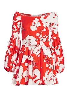 Caroline Constas Gisele Puff-Sleeve Mini Dress