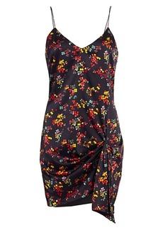 Caroline Constas Koren Abstract Floral Knotted Silk Blend Mini Dress
