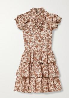 Caroline Constas Kyra Tiered Ruffled Floral-print Cotton-poplin Mini Dress