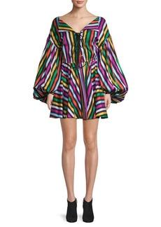 Caroline Constas Lace-Up Cotton Mini Fit-&-Flare Dress