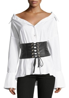 Caroline Constas Leather Corset Button-Front Poplin Shirt