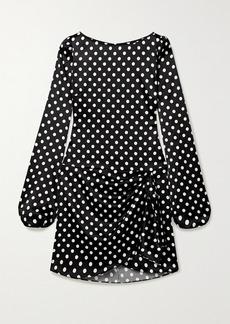 Caroline Constas Leonie Wrap-effect Polka-dot Stretch-silk Satin Mini Dress