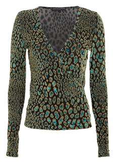 Caroline Constas Leopard Night Out Wrap Top