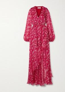 Caroline Constas Liv Wrap-effect Floral-print Silk-chiffon Maxi Dress