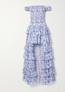Caroline Constas Malta Shirred Tiered Floral-print Cotton-poplin Gown