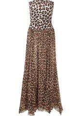 Caroline Constas Marianna Leopard-print Charmeuse And Chiffon Maxi Dress