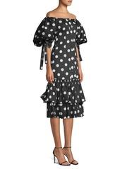 Caroline Constas Nella Polka Dot Midi Dress