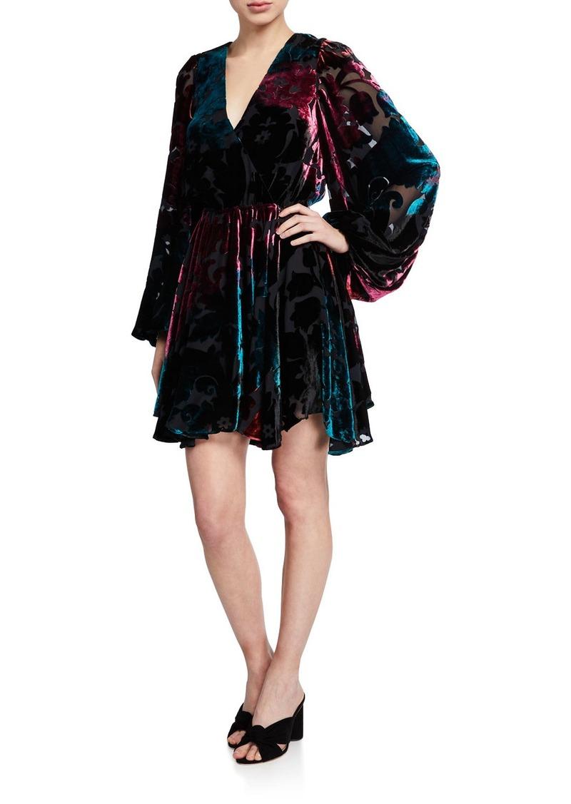 Caroline Constas Olena Velvet Blouson-Sleeve Dress