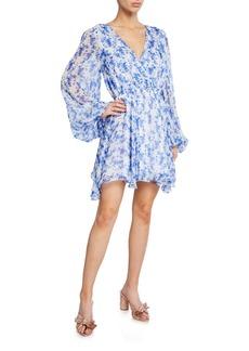 Caroline Constas Orlena Blouson-Sleeve Floral Short Dress