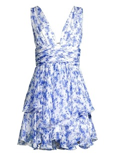 Caroline Constas Paros Floral Tiered Mini Dress