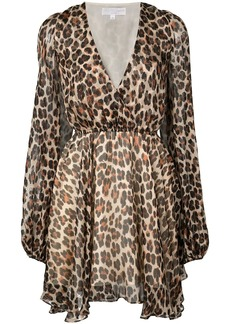 Caroline Constas plunge leopard print mini dress