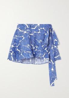 Caroline Constas Ruffled Paisley-print Stretch-cotton Wrap Mini Skirt