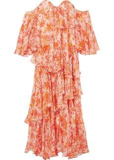 Caroline Constas Ruffled tiered printed silk-chiffon maxi dress