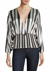 Caroline Constas Sadie Striped Smocked Blouse