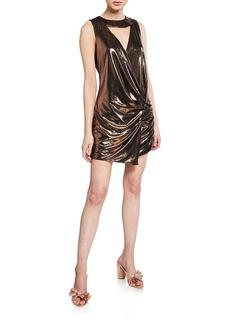 Caroline Constas Sleeveless Metallic Draped Plisse Dress