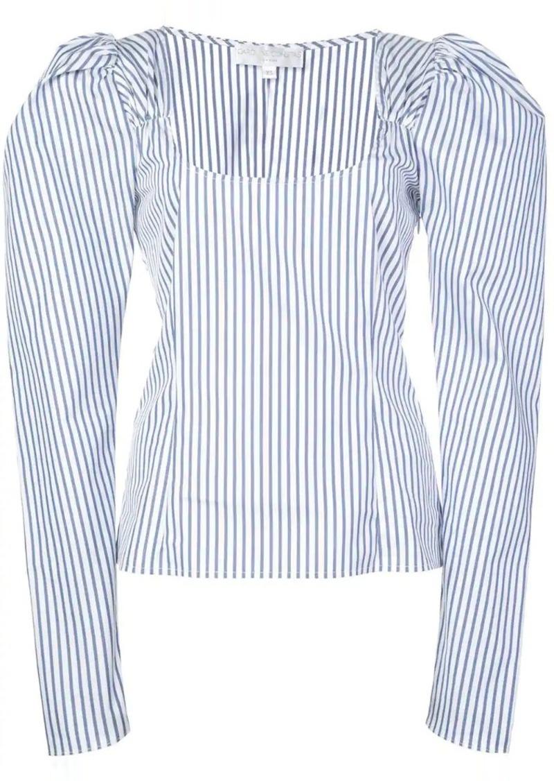 striped puff shoulder top