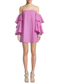 Caroline Constas Tiered Checkered Cotton Shift Dress