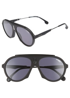 Carrera Flag 57mm Mirrored Pilot Sunglasses