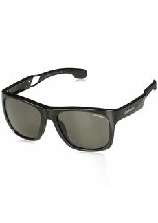 Carrera Men's Carrera 4007/s Polarized Rectangular Sunglasses BLACK 56 mm