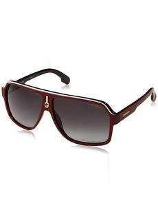 Carrera Men's Ca1001s Aviator Sunglasses RED Black/Dark Gray Gradient 62 mm