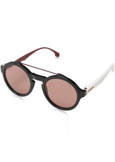 Carrera Men's Ca1002s Round Sunglasses BLACK WHITE/BURGUNDY