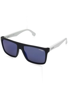 Carrera Men's Ca5039s Rectangular Sunglasses Matte White/Blue Sky Mirror 58 mm