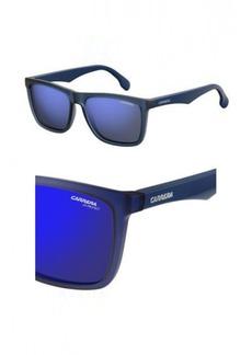 Carrera Men's Ca5041s Rectangular Sunglasses Matte Blue Sky Mirror 56 mm