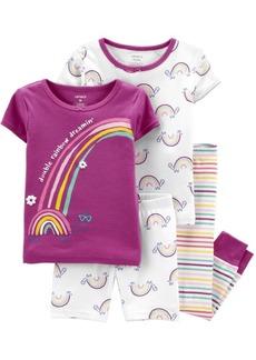Carter's Baby Girls Rainbow Snug Fit Pajama, 4 Piece Set
