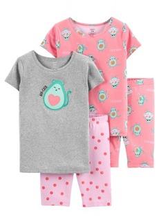 Carter's Big Girls Avocado Cotton Pajamas, 4 Pieces