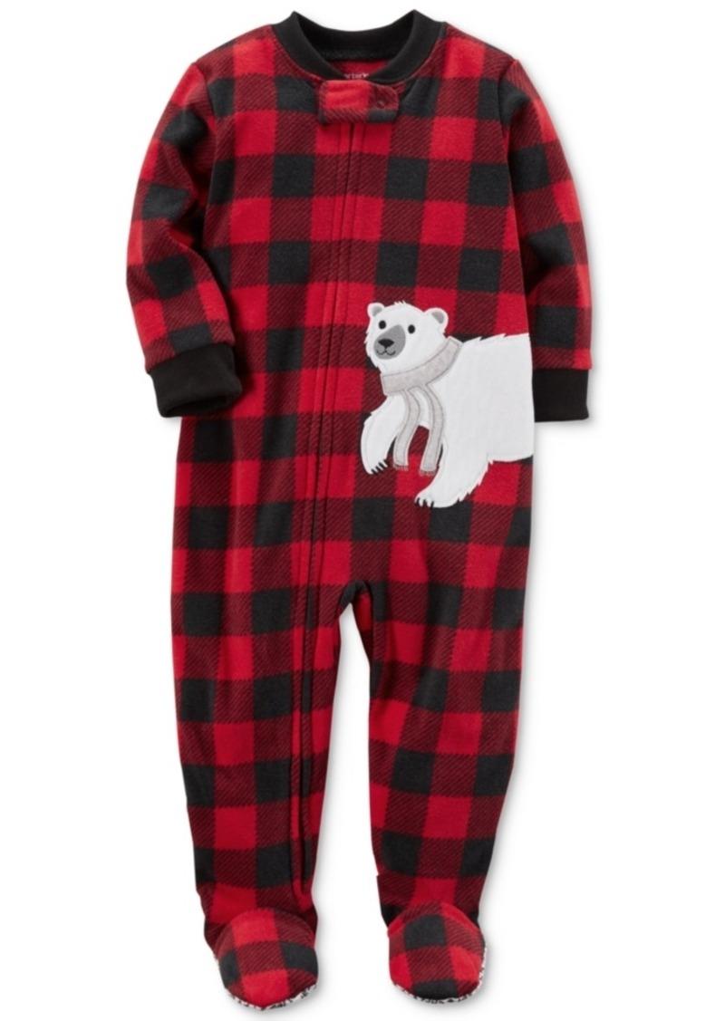 c6a20e7b5 Carter s Carter s 1-Pc. Buffalo Check-Print Footed Fleece Pajamas ...