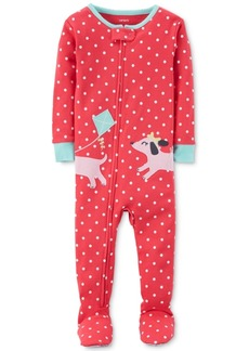 Carter's 1-Pc. Dot-Print Dog Footed Pajamas, Baby Girls