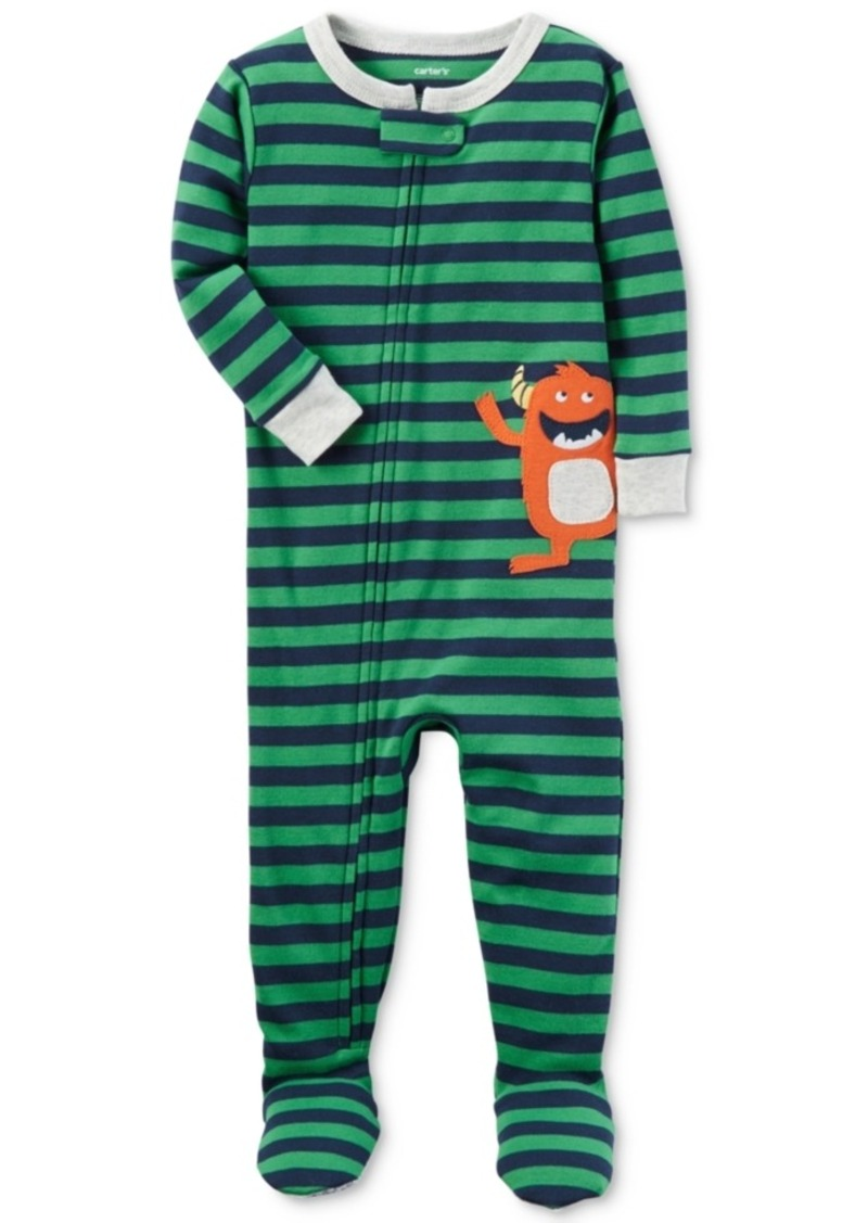 a01230e3a835 SALE! Carter s Carter s 1-Pc. Striped Monster Footed Pajamas