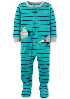 Carter's 1-Pc. Striped Rocket Footed Pajamas, Baby Boys
