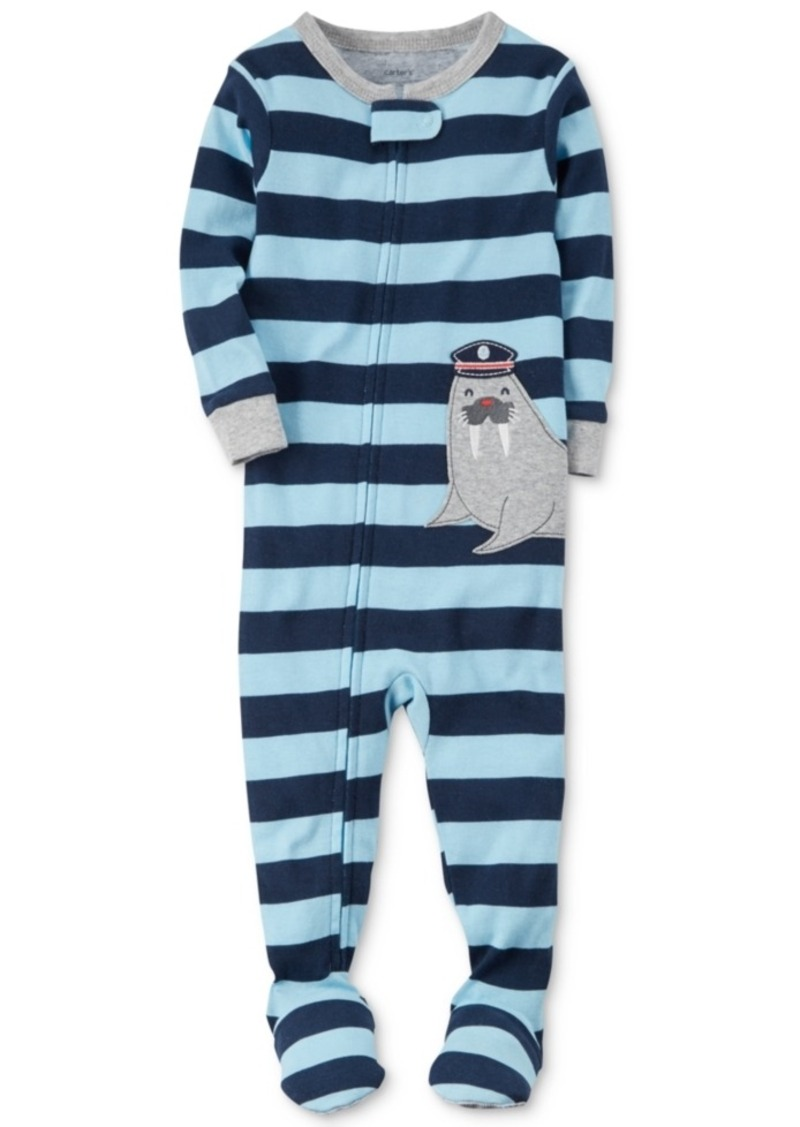 c3023258f13f Carter s Carter s 1-Pc. Striped Walrus Footed Pajamas