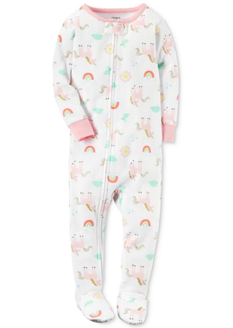 630782328 Carter s Carter s 1-Pc. Unicorn-Print Cotton Footed Pajamas