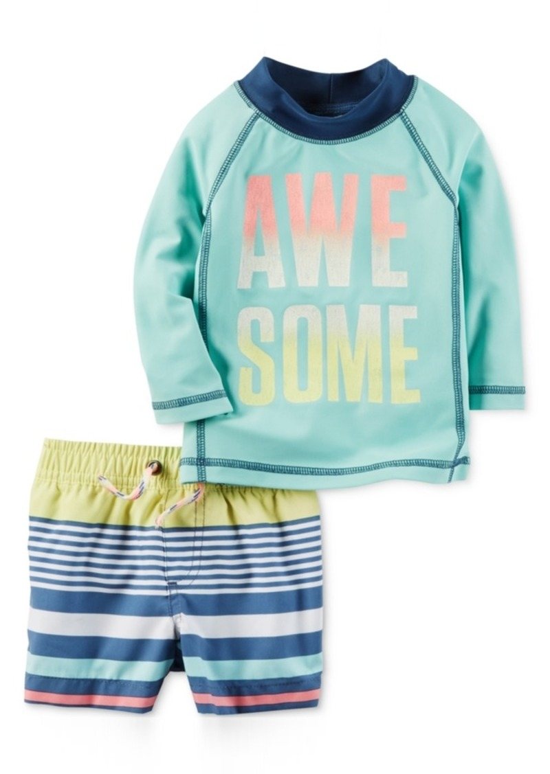 878d83ffd2 2-Pc. Awesome Rashguard & Striped Swim Trunks Set, Baby Boy (0-24 Months)