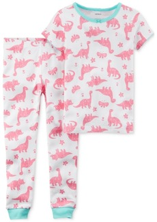 Carter's 2-Pc. Dinosaur-Print Cotton Pajamas, Little Girls & Big Girls