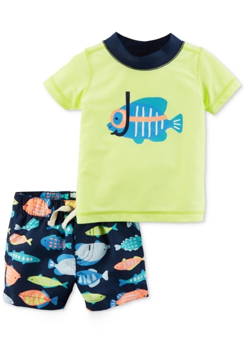 Carter S Carter S 2 Pc Fish Rash Guard Amp Swim Trunks Set