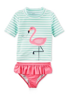 Carter's 2-Pc. Flamingo-Print Rash Guard, Baby Girls