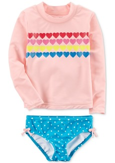 Carter's 2-Pc. Hearts Rash Guard Swimsuit, Toddler Girls