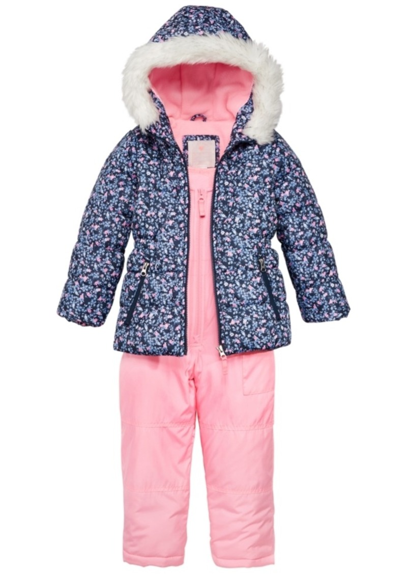 d60664307e47 Carter s Carter s 2-Pc. Hooded Jacket with Faux-Fur Trim   Pants ...