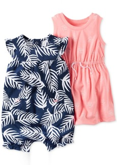 Carter's 2-Pc. Palm-Print Romper & Floral-Print Dress Set, Baby Girls (0-24 months)